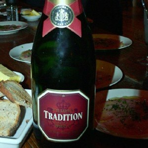 Villiera Tradition Brut and Yellowtail carpaccio