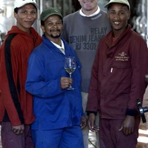 Lukas Wentzel and the winemaking team