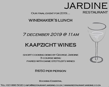 Kaapzicht at Jardine for a food and wine pairing