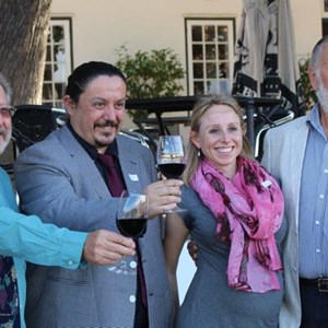 Cape Wine Master  2015 Graduation at Laborie - Bennie, Martin, Yvonne & Duimpie laughing.jpg
