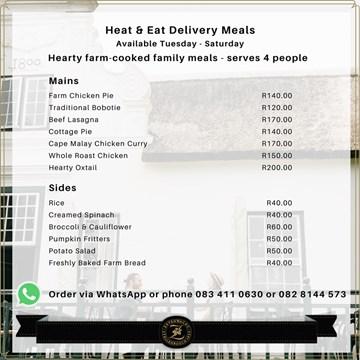 Zevenwacht - Heat & Eat Delivery Menu