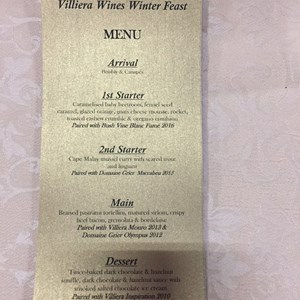 Villiera Winter Feast 2017. The Menu