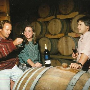5. Simon, Cathy Jeff in barrel cellar - Early days