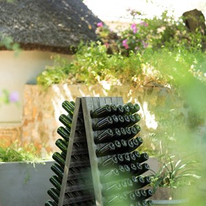 Villiera Riddling Rack display on terrace
