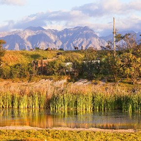 Villiera Wildlife Sanctuary with Helderberg in background