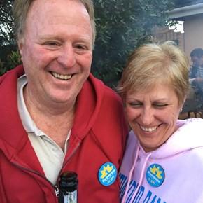 Kevin Kidson (wine.co.za) and Shirley de Wit enjoying #tastesunshine