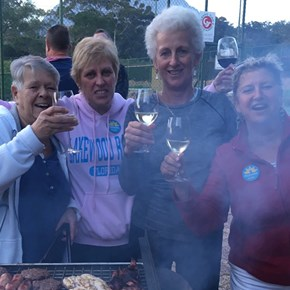 Judy Brower (wine.co.za) and gang at Tennis Club