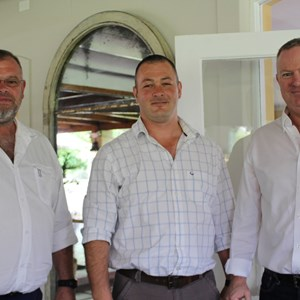 Nicolaas Rust, Chris du Toit (Bergsig Estate) & Nick Furness (Wine Machinery Group)