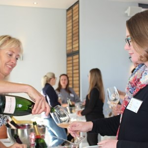 Ginette de Fleuriot pouring for Sue Proudfoot