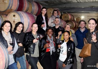 wine.co.za team in the Beyerskloof barrel cellar