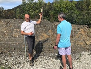 44. Julian and Jean Michel discussing the Sanglier and how too keep them from eating the grapes. Seems one can no longer escape fences in the South of France... (1)