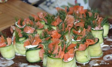 pink salmon & cucumber nibbles