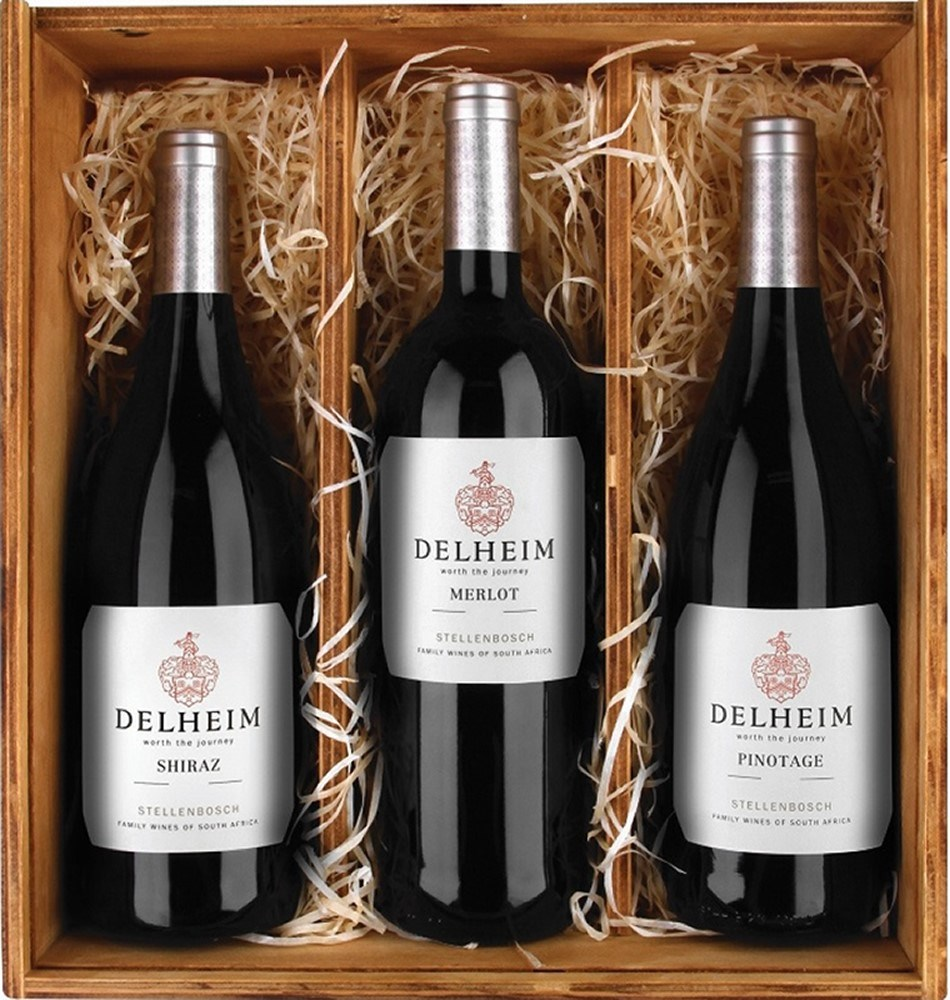 Delheim Pinotage 2016, Shiraz 2017 and Merlot 2016  in wooden case