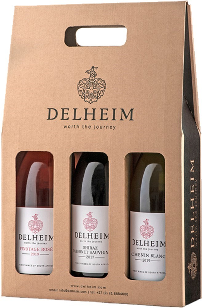 Delheim Pinotage Rosé 2019, Shiraz/Cab 2017,  and Chenin Blanc 2018 in Gift Pack